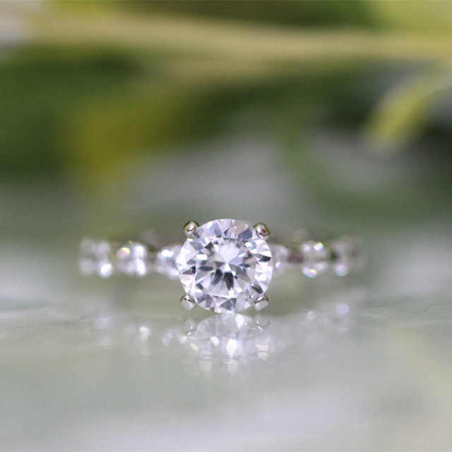 1.44CT Brilliant Cut Simulated Diamond 925 Sterling Silver with Gold Wedding Engagement Ring