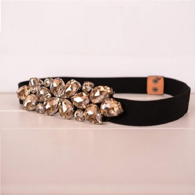 Elegant Rhinestone Belts Decoration Black Brown Cummerbund Thin Elastic  Waist Womens Belts Narrow corset belts for a867f4dd4e14