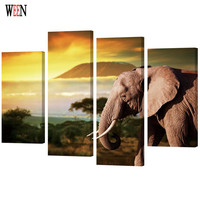 WEEN HD Unicorn Printed Framed 4pc Elephant Canvas Art Animal Wall Pictures For Living Room Poster