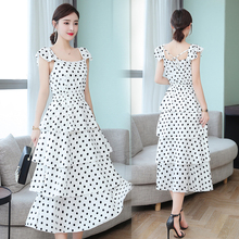 Spring and summer new style chiffon polka dot dress Temperament elegant solid color cake