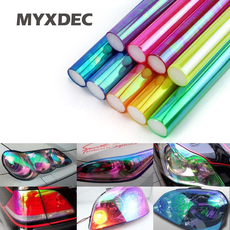 30cm * 1m glanzende kameleon auto-styling koplampen achterlichten doorschijnende filmlichten draaide veranderen van kleur auto film stickers