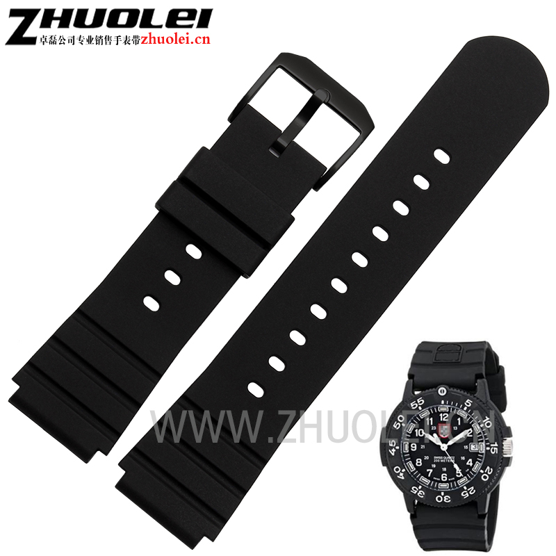 26*21mm(lug width) black rubber watchband for Luminox3901 3001.BO 3000 Waterproof silicone strap fit mens bracelet+free tool