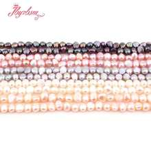 "3-4.5mm Irregular Freshwater Pearl Natural Stone Beads For DIY Necklace Bracelets Earring Jewelry Making 14.5"" Free Shipping(China)"