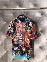 WLD05751BH качество 2018 горячая Распродажа Для мужчин модный бренд сезон: весна–лето стиль рубашка новая Дизайн Для мужчин рубашки футболки; Бес
