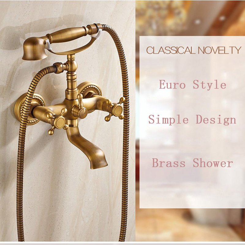 Wall Mounted Handheld Bathtub Shower Mixers Antique Brass Waterfall Tub Spout Faucet Taps Dual Handles wall mounted bright chrome bathtub sink faucet two cross handles bathroom handheld shower mixers swivel tub spout