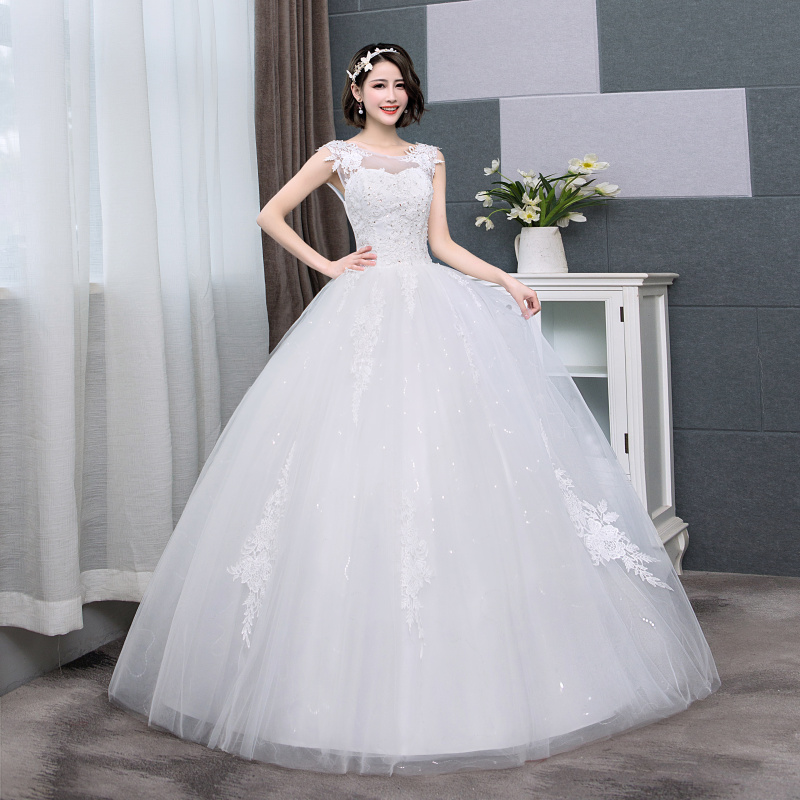 Ivory Free Shipping New Hot O Neck Lace Embroidery Sequined Ball Gown Lace Up Back Formal Bride Dresses Wedding Dress