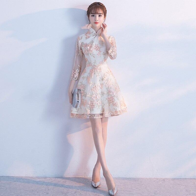 Розовое современное китайское платье Qipao сексуальное Чонсам бежевые платья повседневное женское кружевное традиционное вечернее платье ...