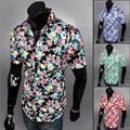4 Cores Novas 2017 Homens Floral Impresso Camisas Mangas Curtas Verão Masculino Casual Praia ShirtPlus Tamanho Encabeça XXL