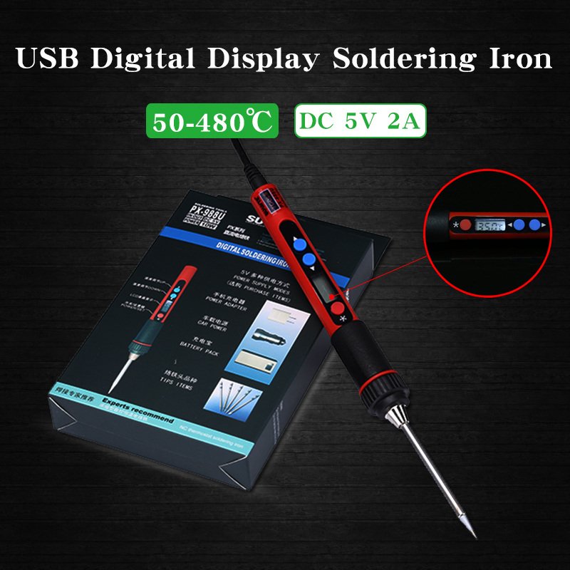 5V Portable Adjustable Temperature USB Soldering Iron Digital LCD Screen 10W Welding Pen Mobile Phone Motherboard Repair Tools