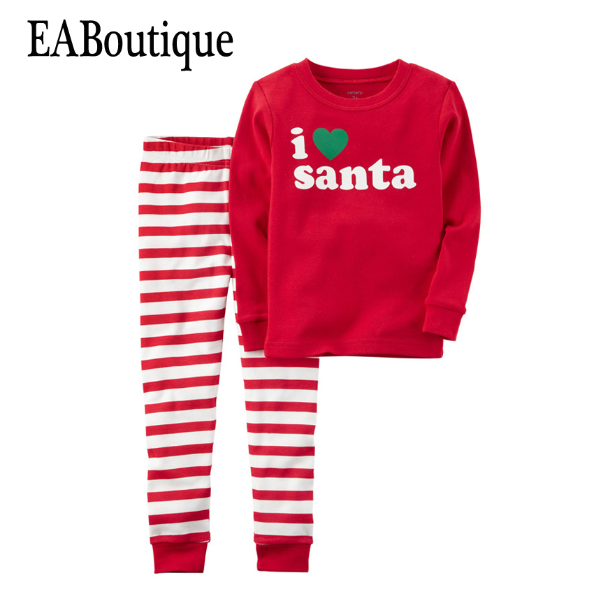 EABoutique Winter boys girls clothes New Kids Fashion letter I love Santa Christmas outfit with pants 2 piece set 2015 new arrive super league christmas outfit pajamas for boys kids children suit st 004