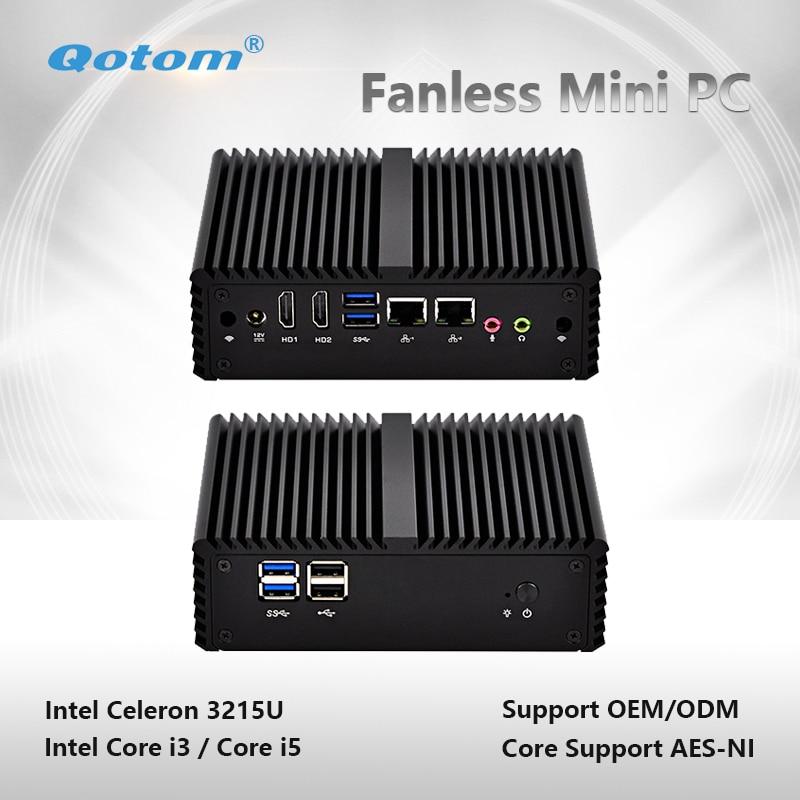 Qotom-Q400S-S08 Fanless Mini PC Dual Gigabit LAN with Celeron/Core i3/i5 Processor Qotom Little Computer Tiny Desktop PC qotom mini pc little fanless computer celeron core i3 i5 i7 with dual core 2 gigabit ethernet lan 6 com small computer q300p