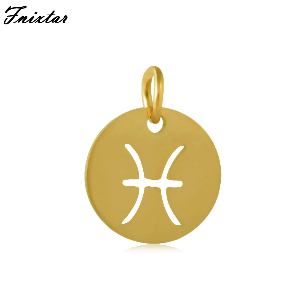 Fnixtar Twelve Constellations Pisces Charm Stainless Steel Jump Ring Gold Color Zodiac Sign Charm Bracelet Accessories 10pcs/lot