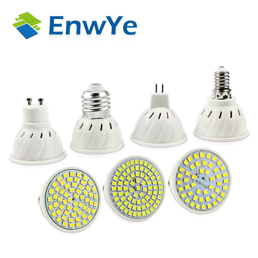 EnwYe E27 E14 MR16 GU10 Lampada LED הנורה 220 v 240 v Bombillas LED מנורת זרקור 48 60 80 LED 2835 SMD Lampara ספוט cfl