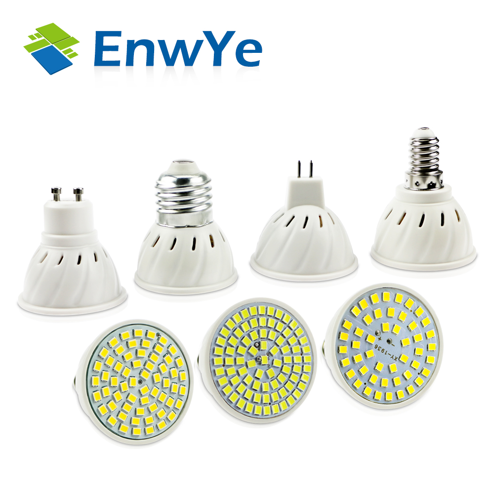 EnwYe E27 E14 MR16 GU10 Lampada LED Bulb 220V 240V Bombillas LED Lamp Spotlight 48 60 80 LED 2835 SMD Lampara Spot Cfl