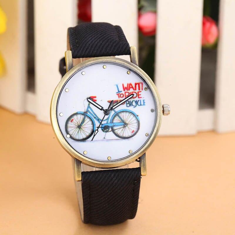 Best Selling Women's Fashion Imitation Denim Leather Belt Watch Ladies Casual Bicycle Printing Retro Quartz Watch Reloj Giti #W