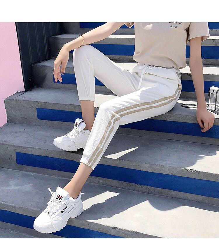 Women Pants Casual Sports Jogging Bottoms Side Stripe Drawstring Sweat Trousers Women Loose Elastic Waist Sportswear Pants 21