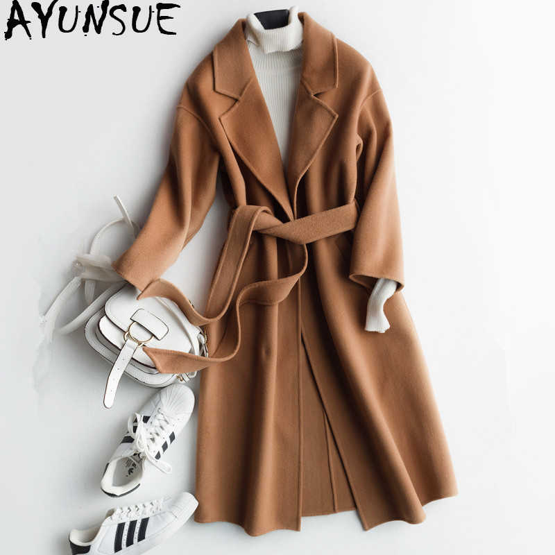 AYUNSUE 2019 New Korean Winter Coat Women Double-faced Wool Coat Female Autumn Women's Cashmere Jacket casaco feminino DY-0202