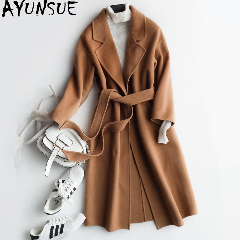 AYUNSUE 2018 Nuovo Inverno Coreano Donne Cappotto Double face Cappotto di Lana Femminile delle Donne di Autunno Cashmere Giacca casaco feminino WYQ1221