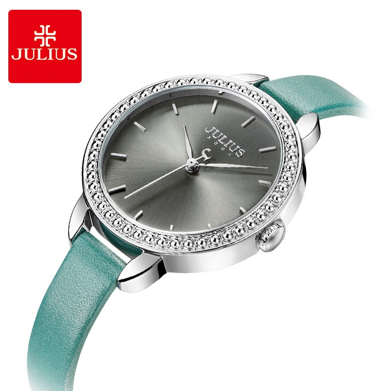 Julius Brand women Crystal Big Dial Bracelet watches ladies Quartz Wrist Watch female leather watch Relogio Feminino Reloj Mujer