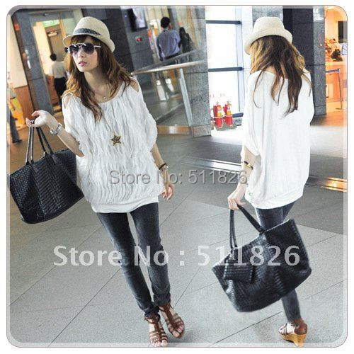 2012 New Women Off Shoulder Wave Batwing Tops Fashion long T-shirt 2 Colors free shipping