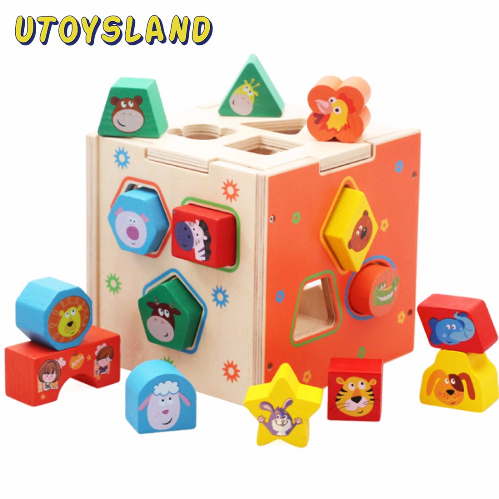 UTOYSLAND Kids Wooden Cartoon Animal Sorter Block Cognition Intelligence Box Baby Educational Shape Matching Toy for Children 13 holes intelligence box for shape sorter cognitive and matching wooden building blocks baby kids children eductional wood toys