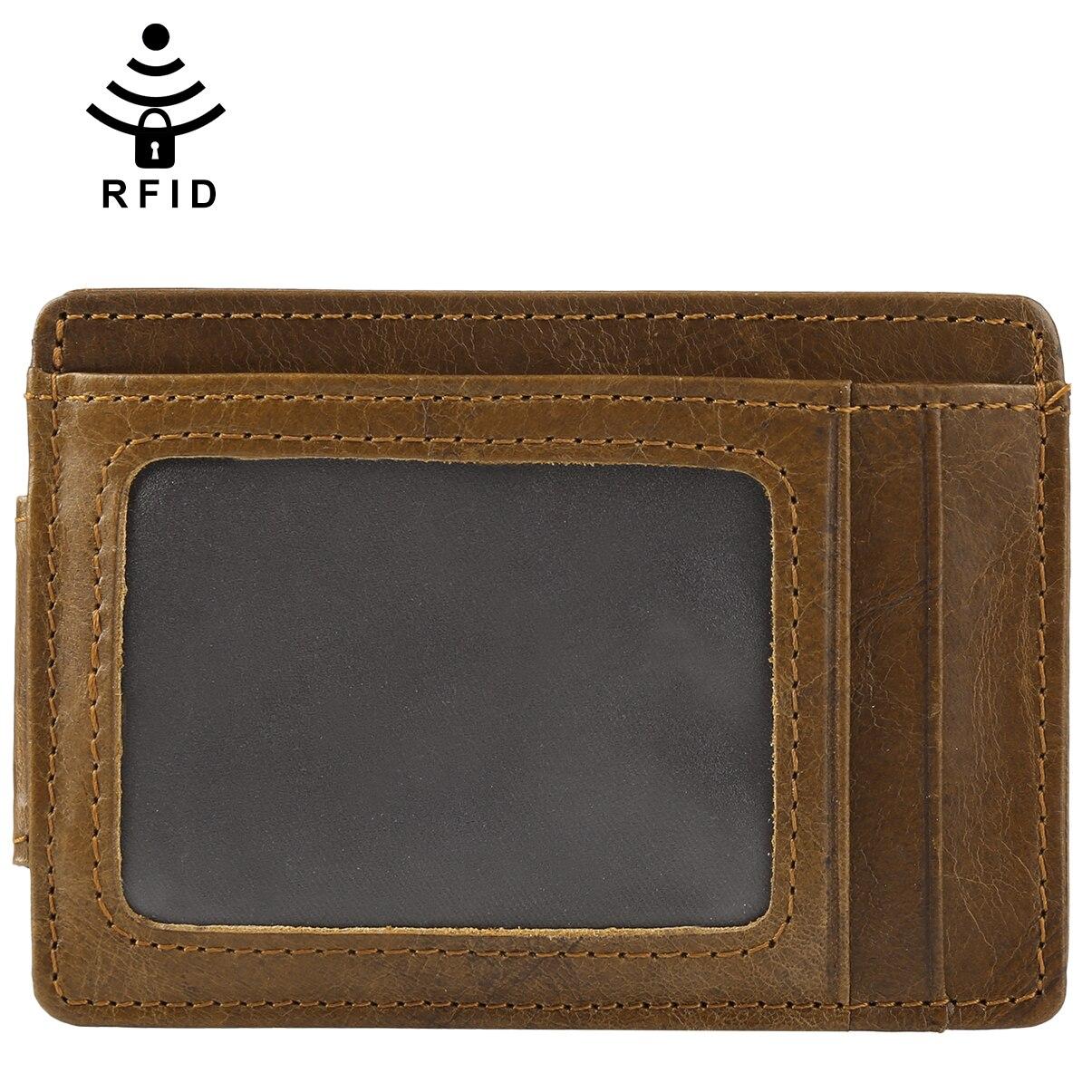 Vbiger Men RFID Blocking Genuine Leather Slim Front Pocket Wallet Multi-functional Credit