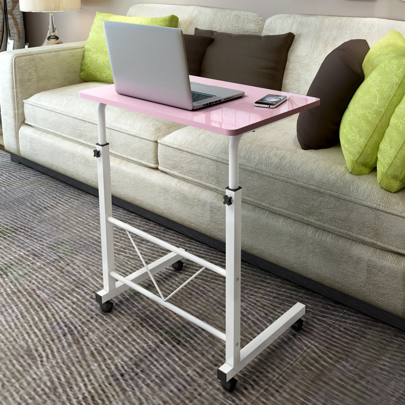 A Pink Notebook Computer Desk Bed Learning With Household Lifting Folding Mobile Bedside Table Writing Desktop Computer Desk Furniture Office Furniture
