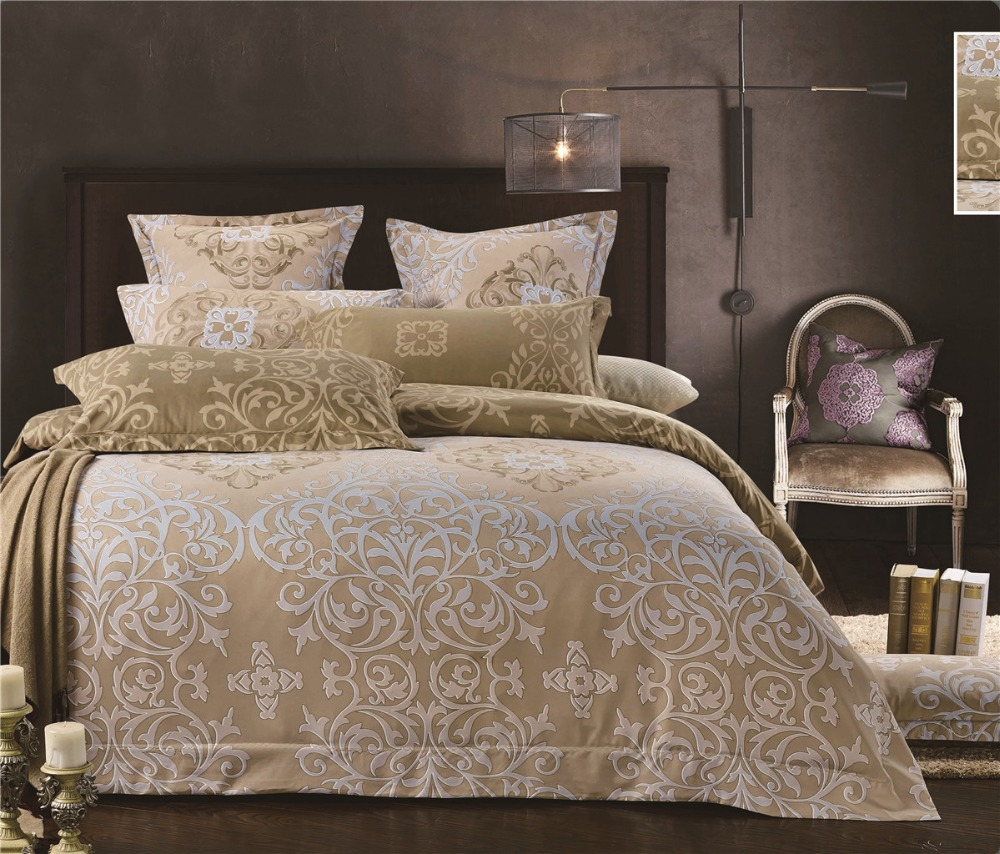 Gold color Court style bed clothes Europe Luxury Royal Bedding sets 3/4 pcs