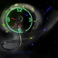 ISHOWTIENDA Mini USB Powered LED Cooling Flashing Real Time Display Function Clock Fan