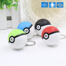 Trendy Game Pikachu LED Keychain Pokeball Ball Bag Key Rings Team Pokemon Kids Cosplay Toys Christmas New Year Gifts Chaveiro(China)