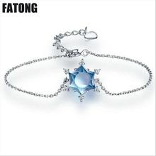 лучшая цена 925 sterling silver natural topaz crystal snowflake bracelet Female. J012