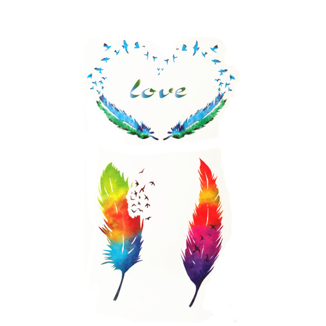 3559dc5a66624 Waterproof Temporary Fake Tattoo Stickers Watercolor Red Blue Feather Love Swallows  Design Body Art Make Up