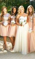 2017 Luxury Bling Sparkle Bridesmaid Dress Golden And Pink Mini Short Mismatch Sequins Lace Long Bridesmaid