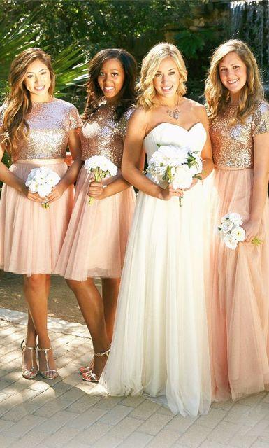 2017 Luxury Bling Sparkle Bridesmaid Dress Golden And Pink Mini Short Mismatch Sequins Lace Long