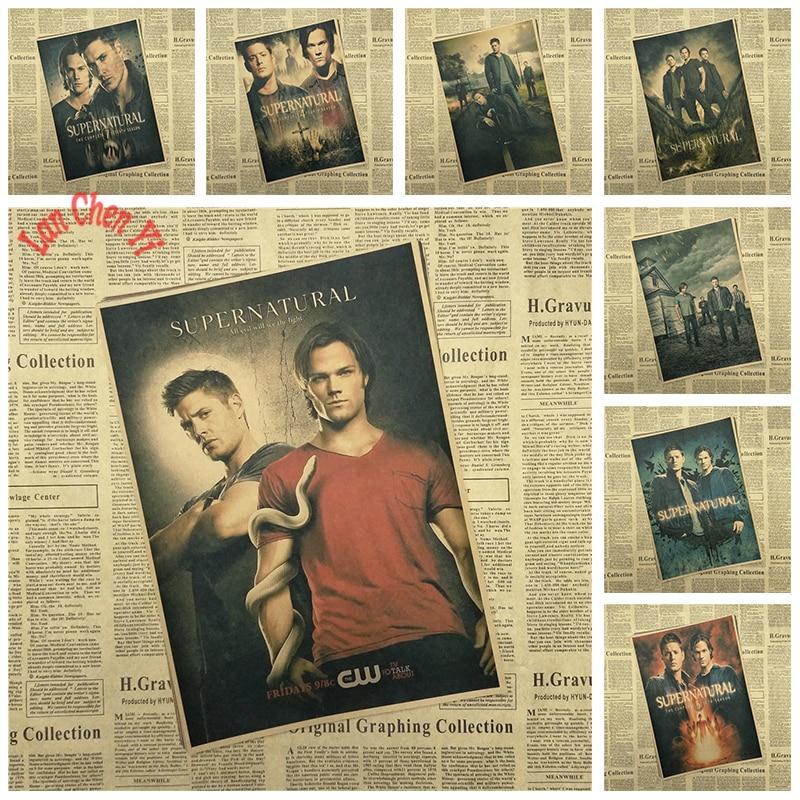 Flere priser Klassisk TV-lek Supernatural Kraft Paper Poster Bar Cafe Gave tapeter Trykking Kunsthåndverk