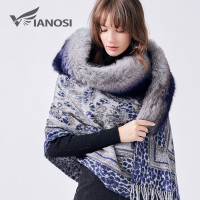 VIANOSI Top Luxury Real Fox Fur Scarf Fur Collar Shawl Print 100% Wool Winter Scarf Women Poncho Brand Design Foulard VA200