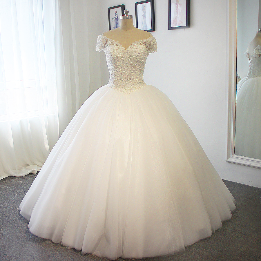 Full pears ball gown wedding dress no train actual photos for Wedding dress no train
