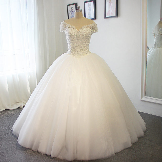Full Pears Ball Gown Wedding Dress No Train Actual Photos 2017 In