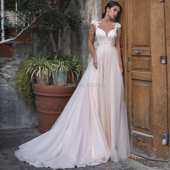 Pink Tulle A Line Wedding Dress 2021 Vestido De Noiva Cap Sleeves Lace Appliques Beading Scoop Neck Open Back Boho Gowns - discount item  35% OFF Wedding Dresses
