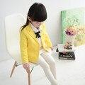 Девушки куртка 2016 новая коллекция весна осень девушка пиджаки с длинным рукавом отложным воротником дети верхняя одежда пальто
