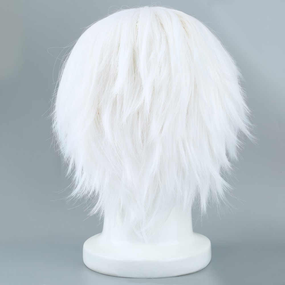 Tokyo Ghoul Cosplay Hairs Short Straight Silver Gray Color 2018 Fashion Halloween Party Costumes Silk Hair For Cosplay Wigs