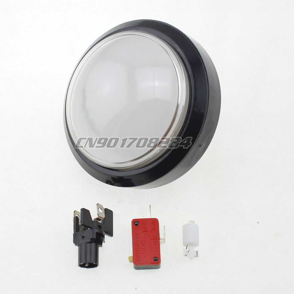1x New 100mm Dome LED Illuminated Push Buttons For Arcade Machine Jamma Mame Games Popn Music Convertible White