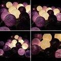 Aladin hecha a mano Púrpura de Algodón Bola de Luz LED String de Hadas Romántico Guirnaldas para Casa de Habitación Lámpara de La Decoración de Navidad Del Banquete de Boda