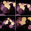 Handmade Purple Cotton Ball Light Aladin LED String Romantic Fairy Garlands for Home Room Party Wedding Decoration Lamp Xmas