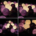 Handmade Roxo Bola de Algodão Luz Aladin LED String Fada Romântico Guirlandas para Sala de Casa Festa de Casamento Decoração de Natal Da Lâmpada