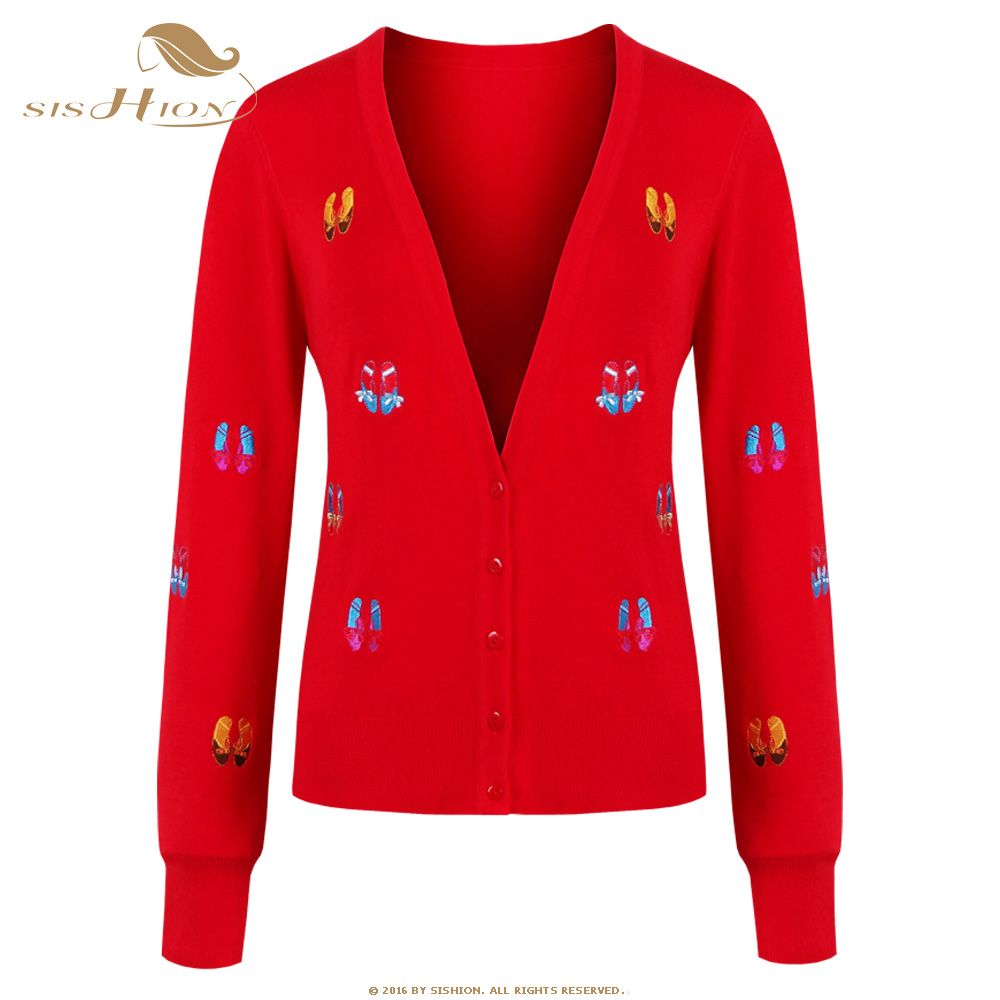 SISHION 2018 New Fashion Women Casual Knitted Sweater Long Sleeve Coat Jacket Outwear Tops Cardigan Female Red VC0002
