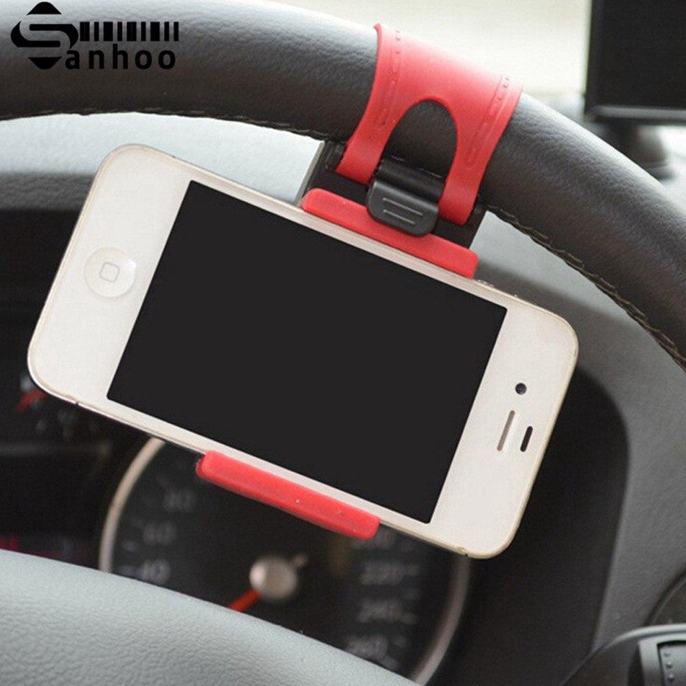 SANHOOII Universal Auto Car Steering Wheel Mobile Cell Phone Holder Bracket Socket Stand Clip Mount Interior Accessories steering wheel phone holder