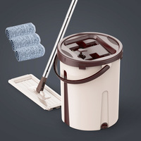 Flat Squeeze Mop Bucket Hand Free Wringing Floor Cleaning Mop Avoid Hand Washing Microfiber Lazy Fellow Mop Pads Wet or Dry Mops