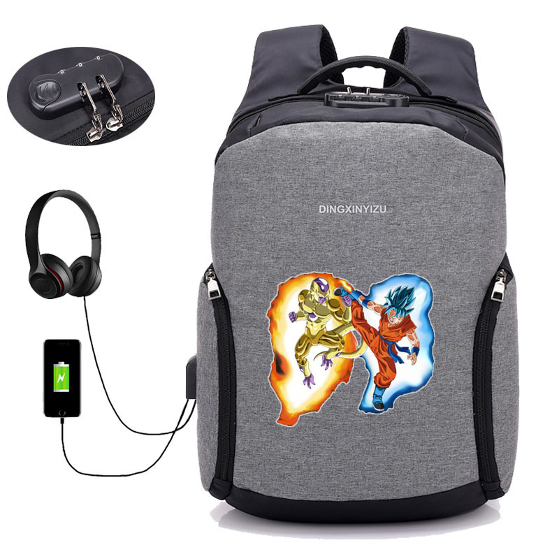 Japan anime Dragon Ball Z backpack USB Charge Anti theft Backpacks student book backpack teenagers men Travel backpack 28 style in Backpacks from Luggage Bags