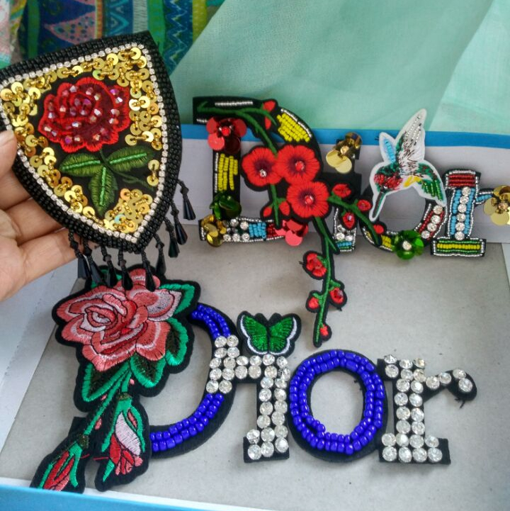 handmade rose flower letter rhinestone beaded patches for clothing Sew on embroidery parches Embroidered applique para la ropa